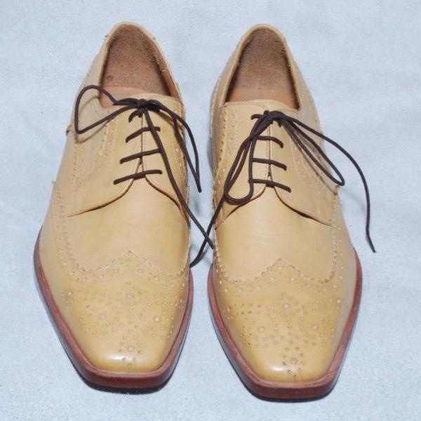 Handmade Mens Cream Color Oxford Fashion Leather Sole Dress Shoes