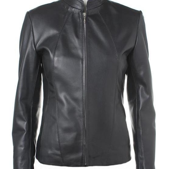 Women's Modern Zipper Front Black Leather Jacket