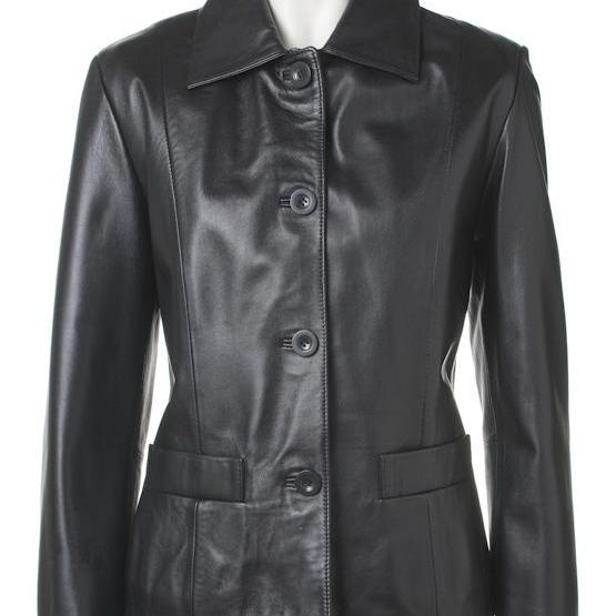 Women's Classic Button Front Black Leather Jacket