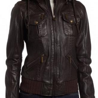 Women's Brown Leather Hoodie Bomber Leather Jacket