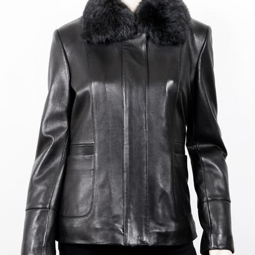 Women's Fur Collar Black Leather Jacket