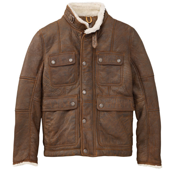 Made To Order Handmade Brown Color Fur Leather Men's Jacket With Front Button Up Closure, Front Cross Flap Pockets And Belted Tab Collar