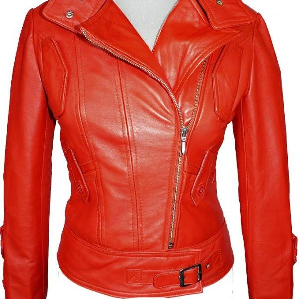 Women's Handmade Leather Slim Jacket, New Fashion, Red Color , High Stand Collar, Waist Belted Style,