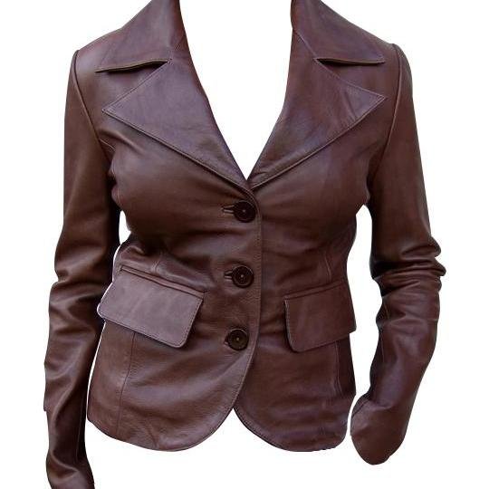 Customized Handmade Woman's Leathr Brown Coat, Wide Collar, Snap Clouser Pockets
