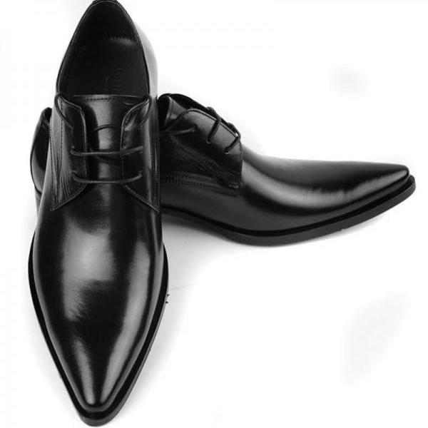 Customized Handmade Black Color Derby Leather Men's Dress Shoes With Stylish Pointed & Plain Toe Made To Order