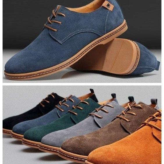 Customized Handmade Multi Color Suede Leather Derby Men's Dress Shoes With Plain Toe And Contrast Sole Made To Order