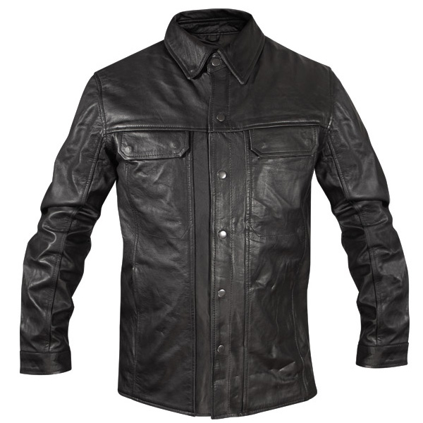 Customized Handmade Black Color Biker Fashion Leather Men's Jacket With Shirt Style Collar, Snap Button Cuffs, Front Button Up Closure,Flap Chest Pockets And Open Hand Pockets Made To Order