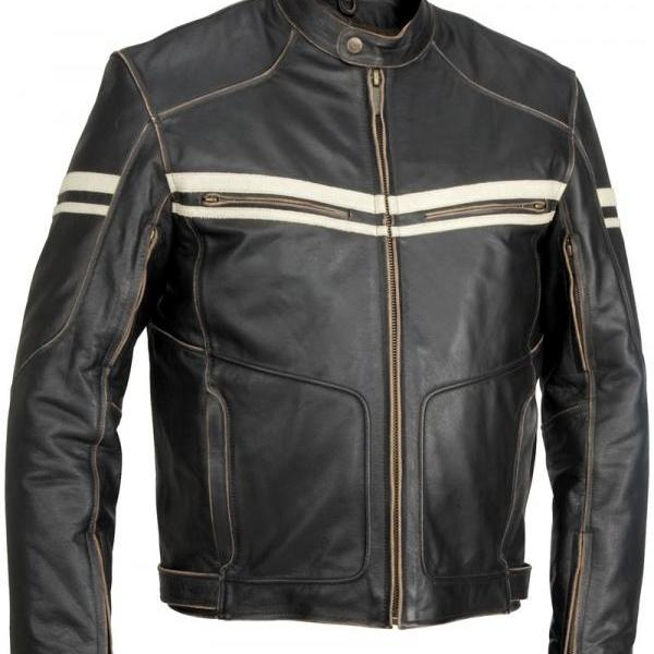 Customized Handmade Black Color Biker Fashion Leather Men's Jacket With Lower Snap Button Collar,Front Zippered Closure With Wind Flap,Zippered Cuffs,White Straps On Chest And Sleeves And Adjustable Belted Waist