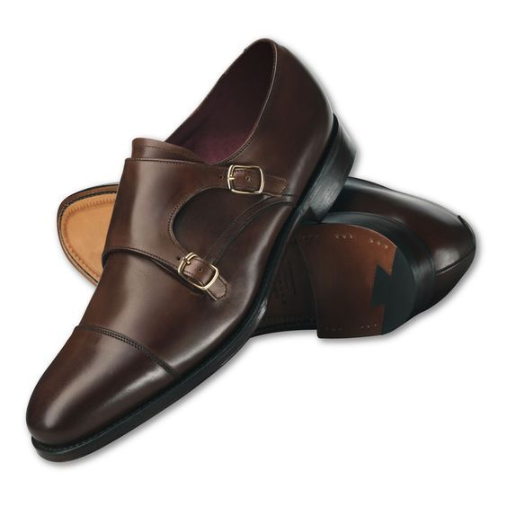 Customized Handmade Chocolate Brown Monk Leather Men's Dress Shoes Cap Toe And Double Strap Buckle Made To Order