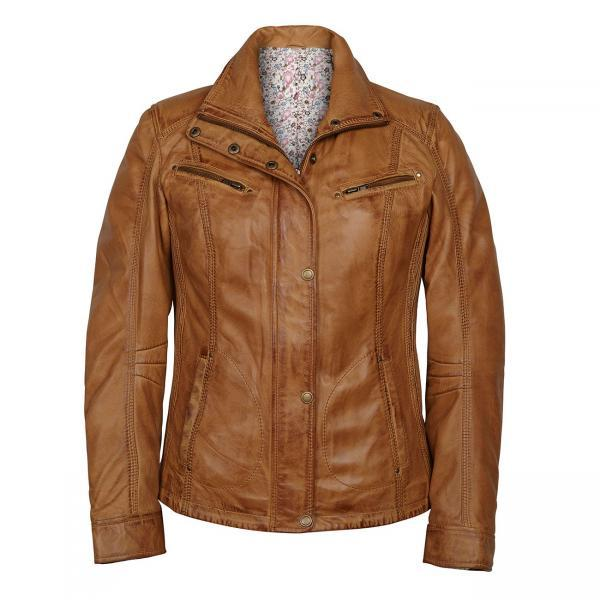 Customized Handmade Tan Color Biker Fashion Leather Women's Jacket Front Zippered Closure With Snap Button Wind Guard,Snap Button Cuffs,Open Hand Pockets And Zippered Chest Vents Made To Order