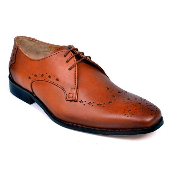 Customized Handmade Tan Color Brogue Toe Formal Leather Dress Shoes For Men With Lace Up And Black Sole Made To Order