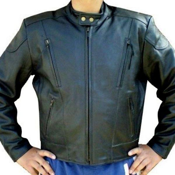 Customized Handmade Black Color Bikers Men's Leather Jacket Vertically Zippered Pockets, Double Snap Button Collarless Design,Patches On Elbow And Shoulders Made To Order