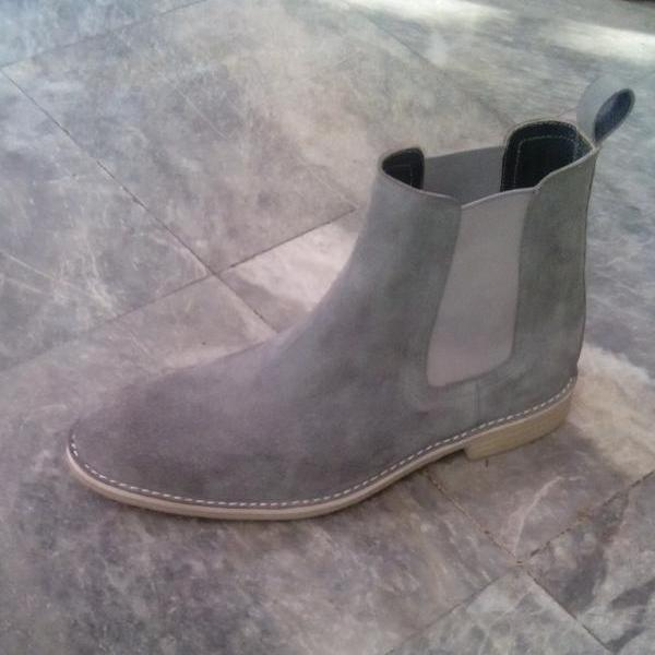 Customized Handmade Gray Color Chelsea Leather Boots For Men With Back Pull, Elasticated Panel And Beige Color Sole Made To Order