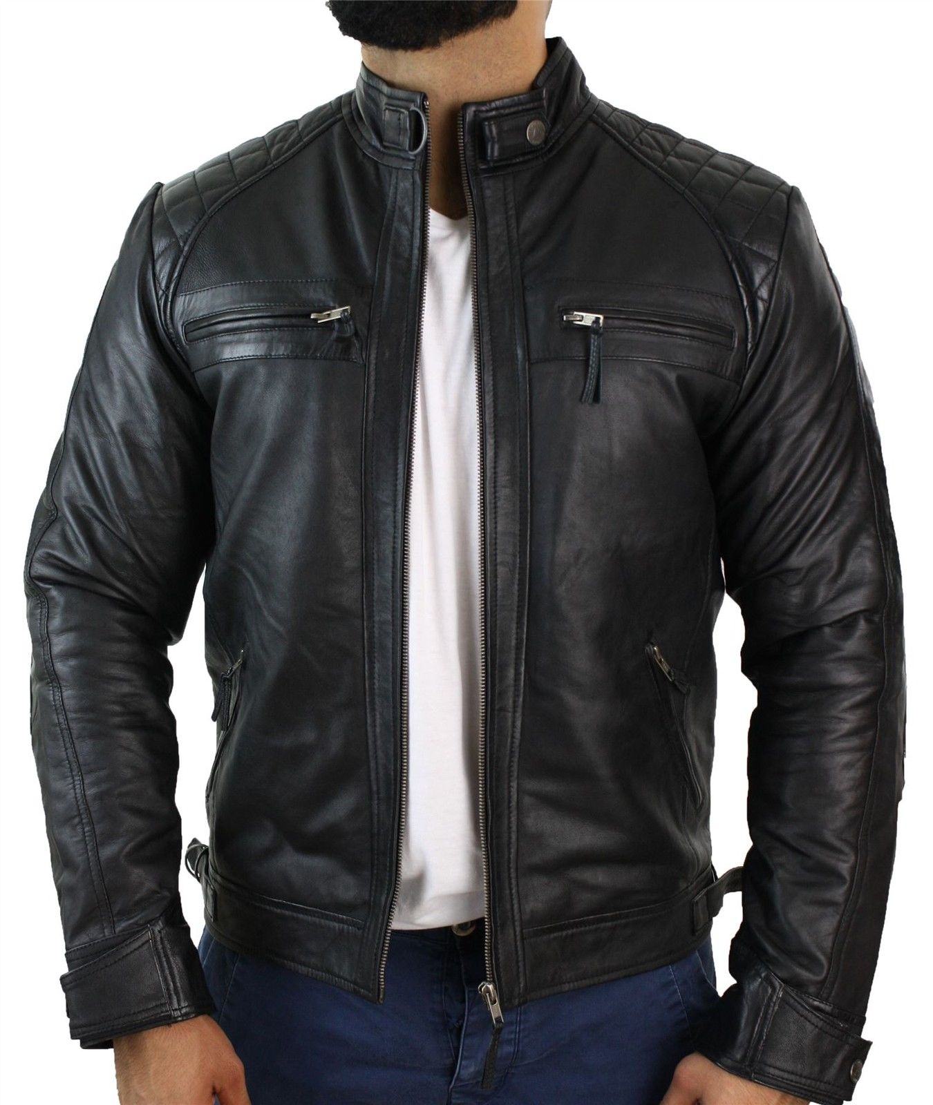 Customized Handmade Black Color Bikers Mens Fashion Leather Jacket