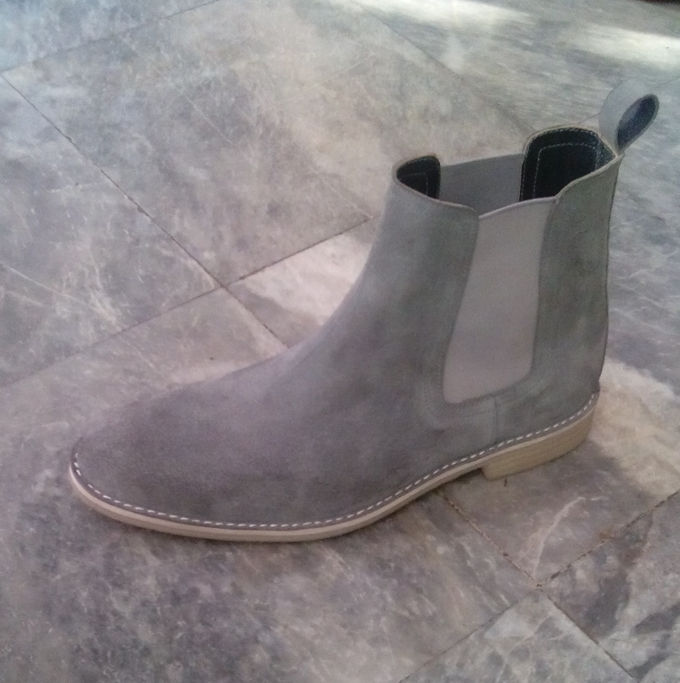 f040f86f897b Customized Handmade Gray Color Chelsea Leather Boots For Men With Back  Pull